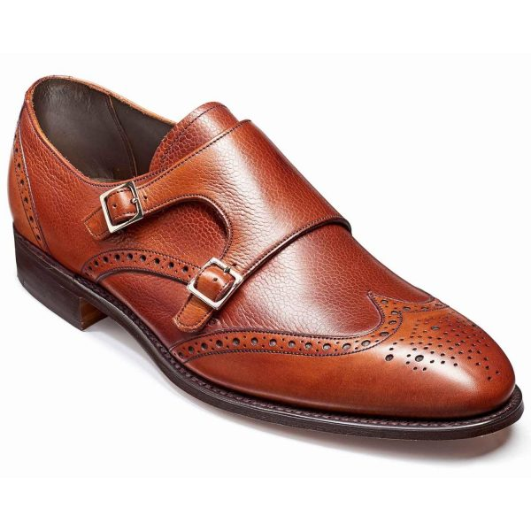 Barker Fleet Double Monk Strap Brogues - Rosewood Calf & Grain