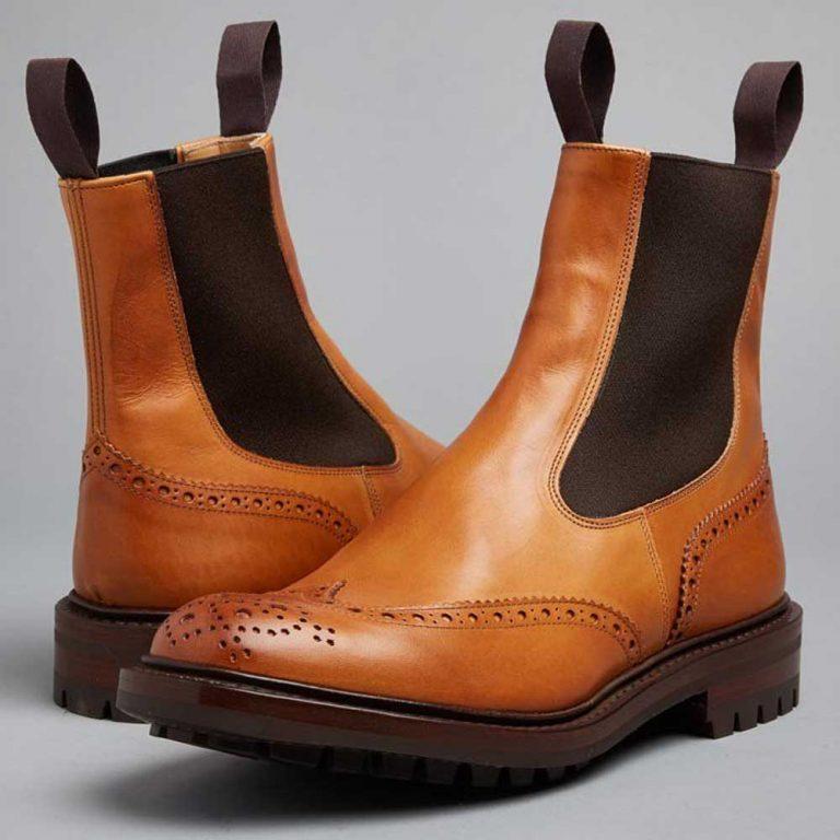 Tricker's Henry Elastic Brogue Boots - Dainite Sole