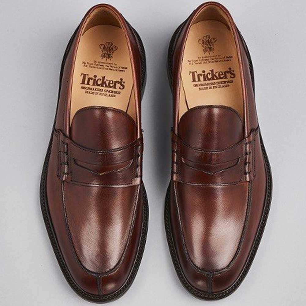Trickers Shoes - Mens James Penny Loafers - Chestnut