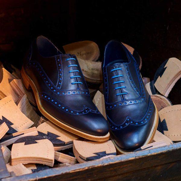 Barker Shoes - Mens Grant Brogues - Navy & Classic Blue Calf