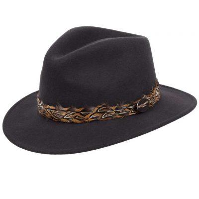 HICKS & BROWN Hat - Ladies Suffolk Pheasant Feather Wrap Fedora - Dark Brown