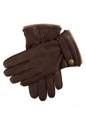 DENTS Gloucester Cashmere Lined Deerskin Leather Gloves - Bark