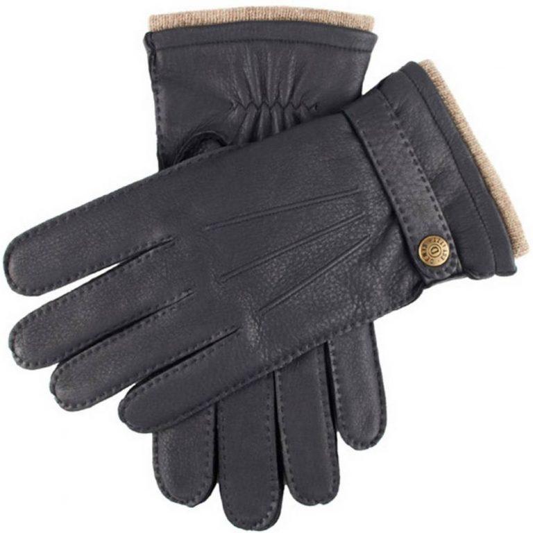 DENTS Gloucester Cashmere Lined Deerskin Leather Gloves - Navy
