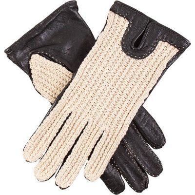 DENTS Kelly Crochet Back Driving Gloves - Black & Neutral