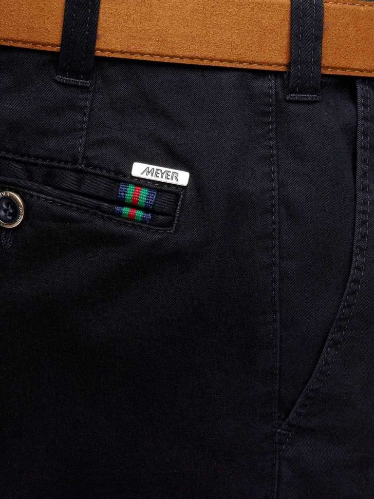 Meyer - Oslo 316 Soft Cotton Chinos - Expandable Waist - Navy