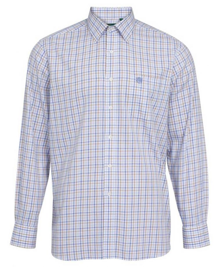 ALAN PAINE - Mens Ilkley Country Check Shirt - Blue & Beige