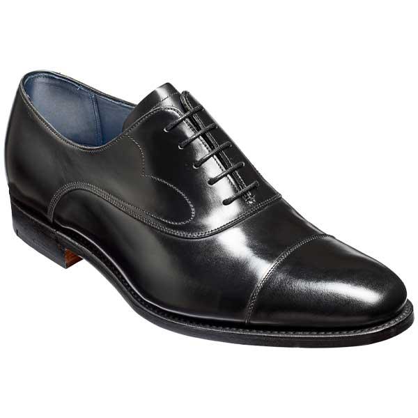 BARKER Hartley Shoes – Oxford Toe Cap – Black Hi-Shine