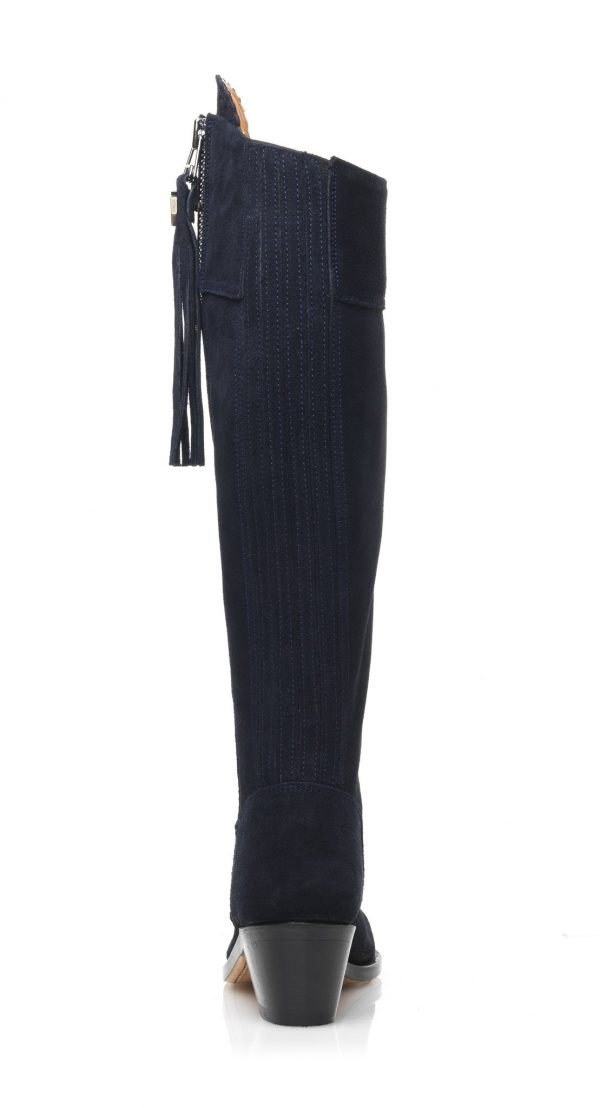 Fairfax & Favor Flat Regina Leather Boots Navy Suede