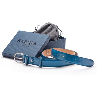 Barker Leather Plain Belt - Blue Hand Painted