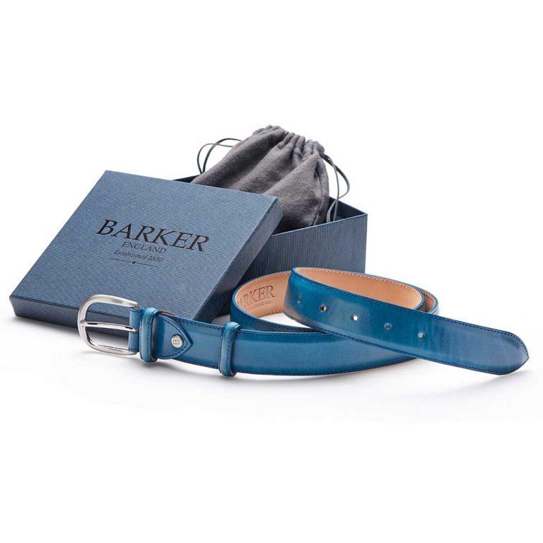 Barker Leather Plain Belt - Blue Hand Painted