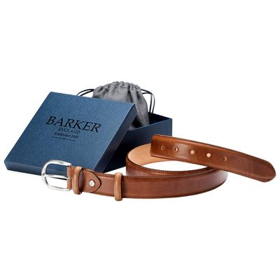 Barker Leather Plain Belt - Brown Hand Painted