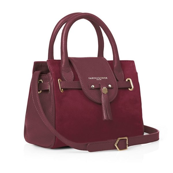FAIRFAX & FAVOR Handbag - Ladies Mini Windsor Leather & Suede - Oxblood