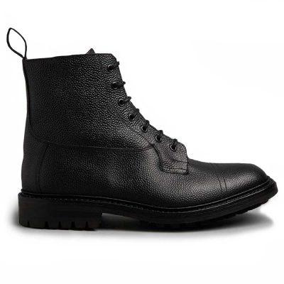 Tricker's Grassmere Country Boots - Commando Sole Black Scotch Grain