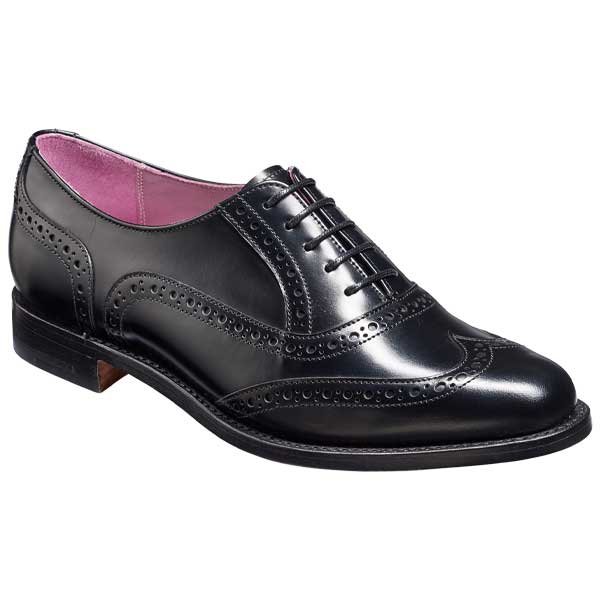 BARKER Freya Shoes – Ladies Brogues – Black Hi-Shine