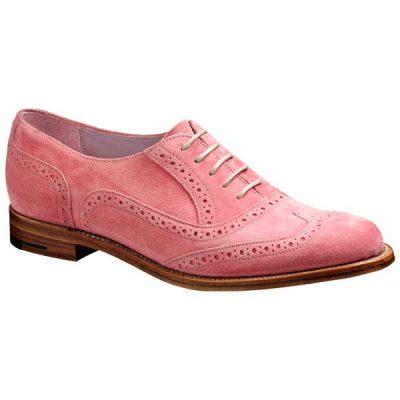 BARKER Freya Shoes – Ladies Brogues – Pink Suede