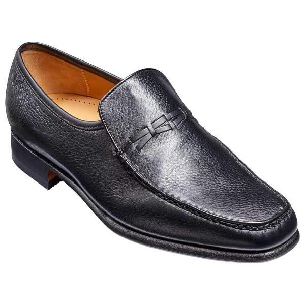 BARKER Leon Shoes - Mens Moccasins - Black Deerskin & Black Calf