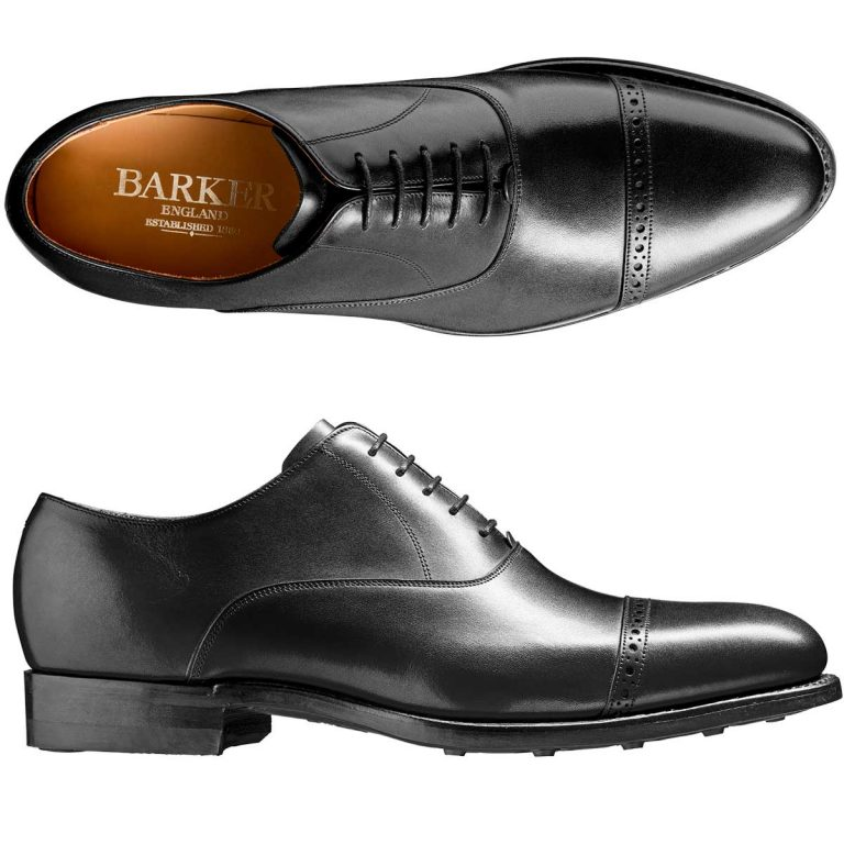 BARKER Burford Shoes - Mens Oxford Dainite Sole - Black Calf