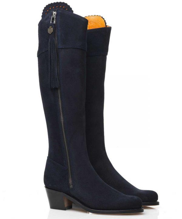 Fairfax & Favor Heeled Regina Suede Boots - Navy