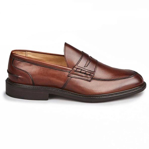 Tricker's James Penny Loafers - Leather Sole - Chestnut Burnished