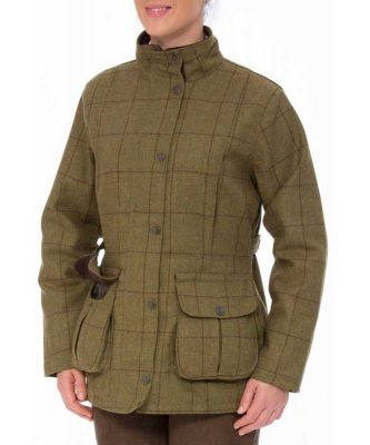ALAN PAINE - Ladies Rutland Tweed Waterproof Shooting Coat - Lichen