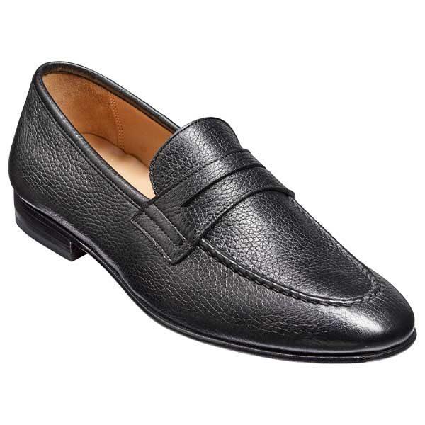 BARKER Ledley Shoes – Mens Moccasins – Black Deerskin