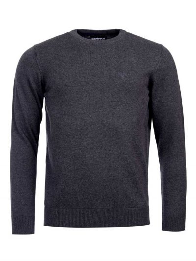 Barbour Men's Pima Cotton Crew Neck Jumper - Charcoal