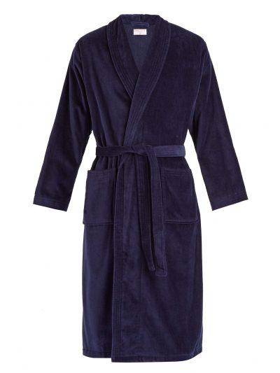 DEREK ROSE Dressing Gown – Men's Triton Cotton Towelling – Navy