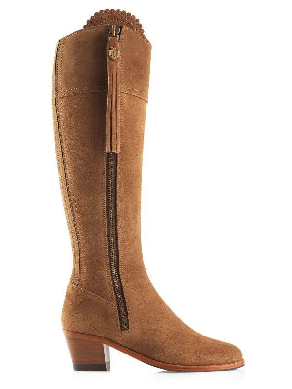 FAIRFAX & FAVOR Boots - Ladies Heeled Regina - Sporting Fit - Tan Suede