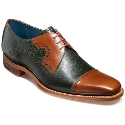 Barker Ashton Derby Shoes - Green Grain & Walnut Calf