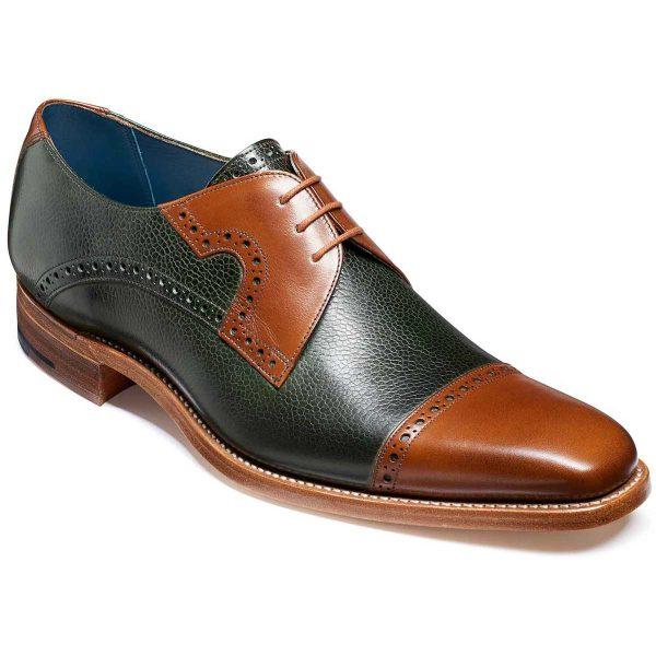 Barker Ashton Derby Shoes - Green Grain & Walnut Calf