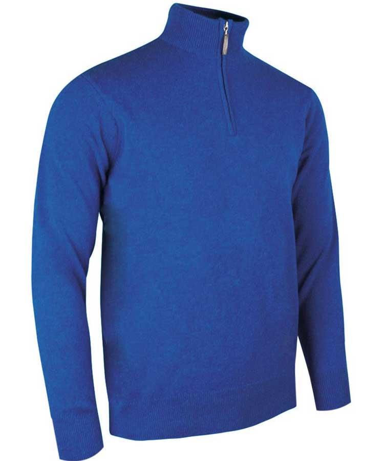 Glenmuir Men's Coll Zip Neck Lambswool Sweater - Ascot Blue