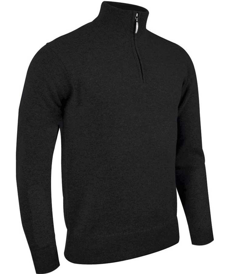 Glenmuir Men's Coll Zip Neck Lambswool Sweater - Black