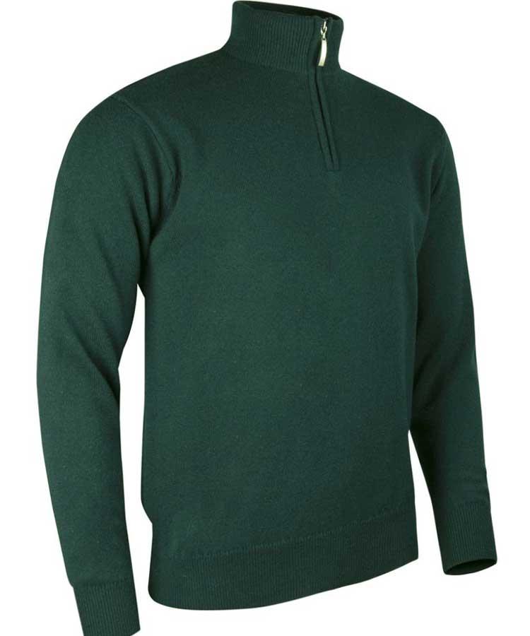 Glenmuir Men's Coll Zip Neck Lambswool Sweater - Bottle