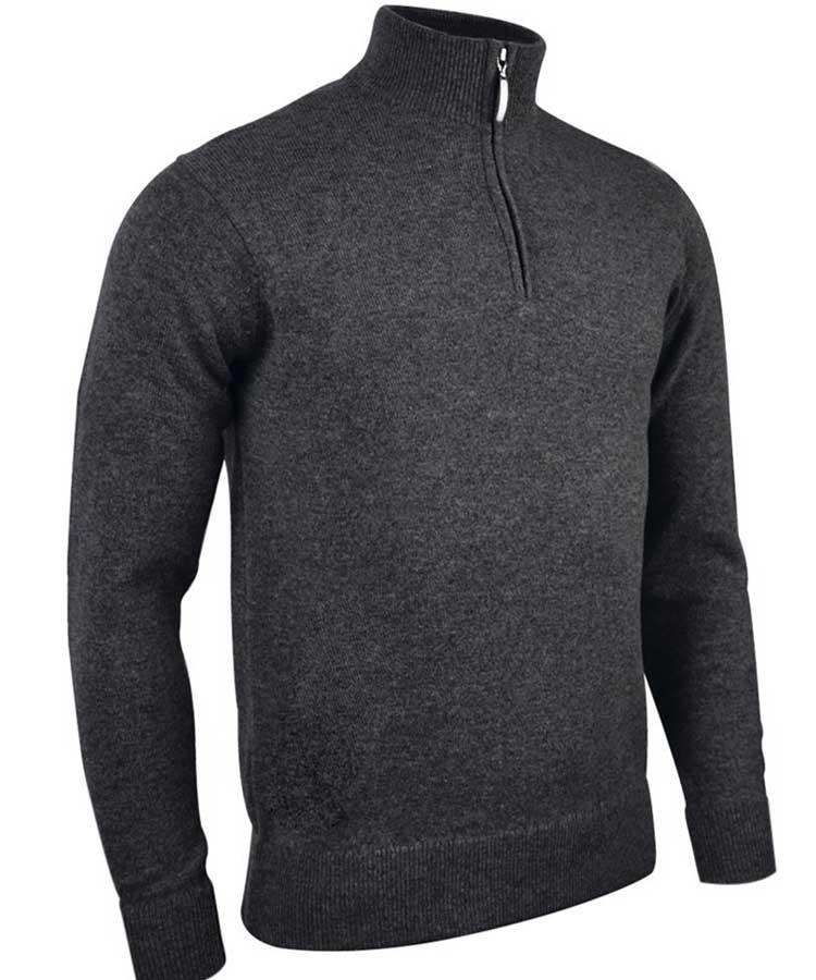 Glenmuir Men's Coll Zip Neck Lambswool Sweater - Charcoal