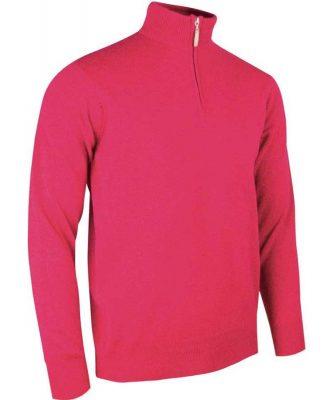 Glenmuir Men's Coll Zip Neck Lambswool Sweater - Daiquiri