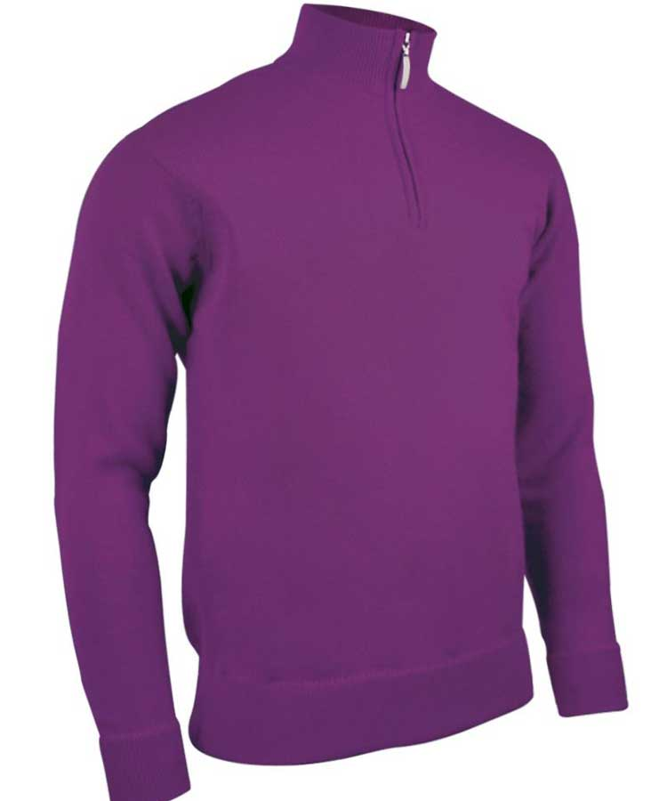 Glenmuir Men's Coll Zip Neck Lambswool Sweater - Foxglove