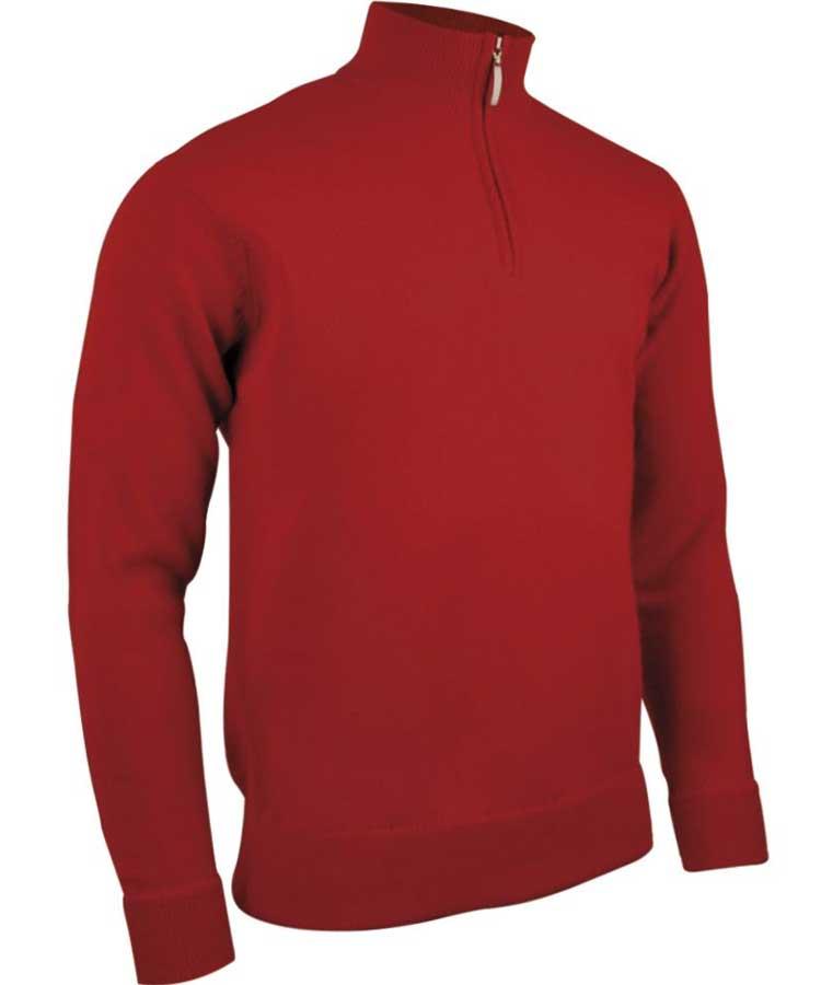 Glenmuir Men's Coll Zip Neck Lambswool Sweater - Garnet