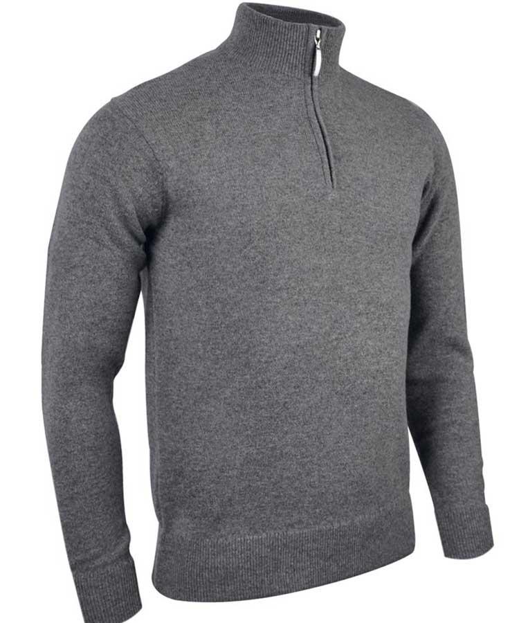Glenmuir Men's Coll Zip Neck Lambswool Sweater - Grey Mix