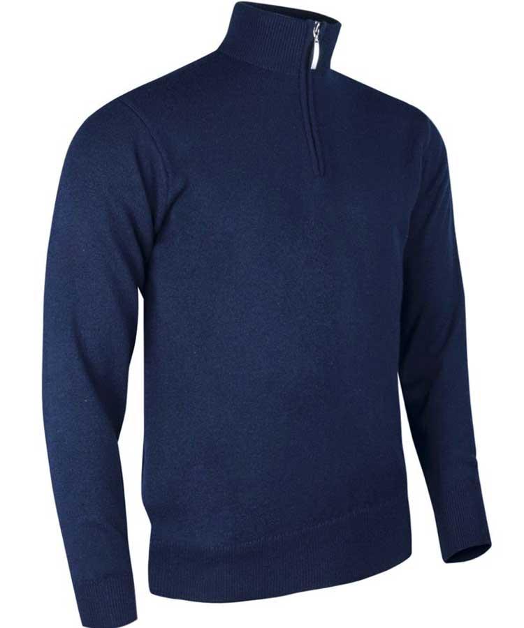 Glenmuir Men's Coll Zip Neck Lambswool Sweater Navy