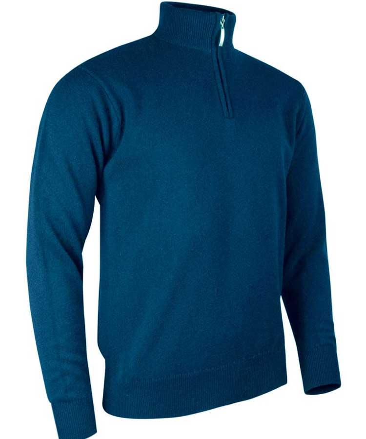 Glenmuir Men's Coll Zip Neck Lambswool Sweater Rhapsody