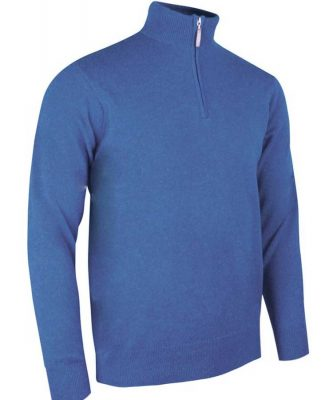 Glenmuir Men's Coll Zip Neck Lambswool Sweater - Tahiti Blue