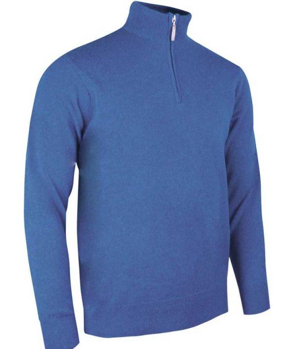 Glenmuir Men's Coll Zip Neck Lambswool Sweater - Tahiti Blue