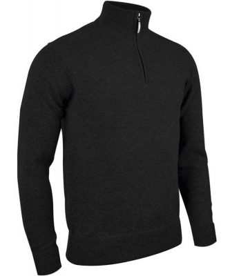 Glenmuir Men's Jasper Zip Neck Fine Merino Sweater - Black