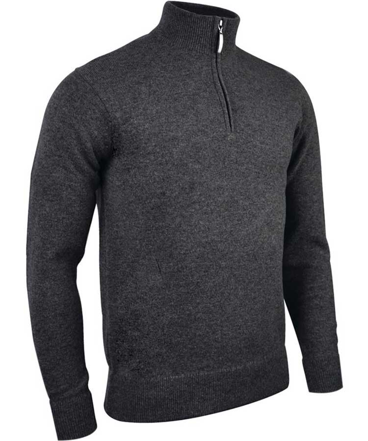 Glenmuir Men's Jasper Zip Neck Fine Merino Sweater - Charcoal