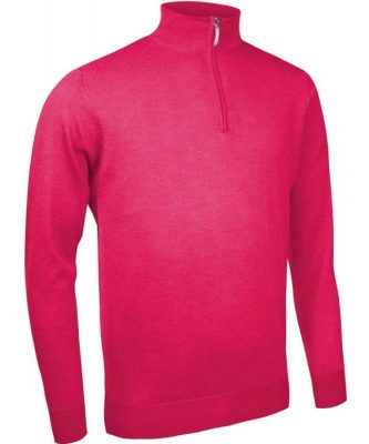 Glenmuir Men's Jasper Zip Neck Fine Merino Sweater - Daiquiri