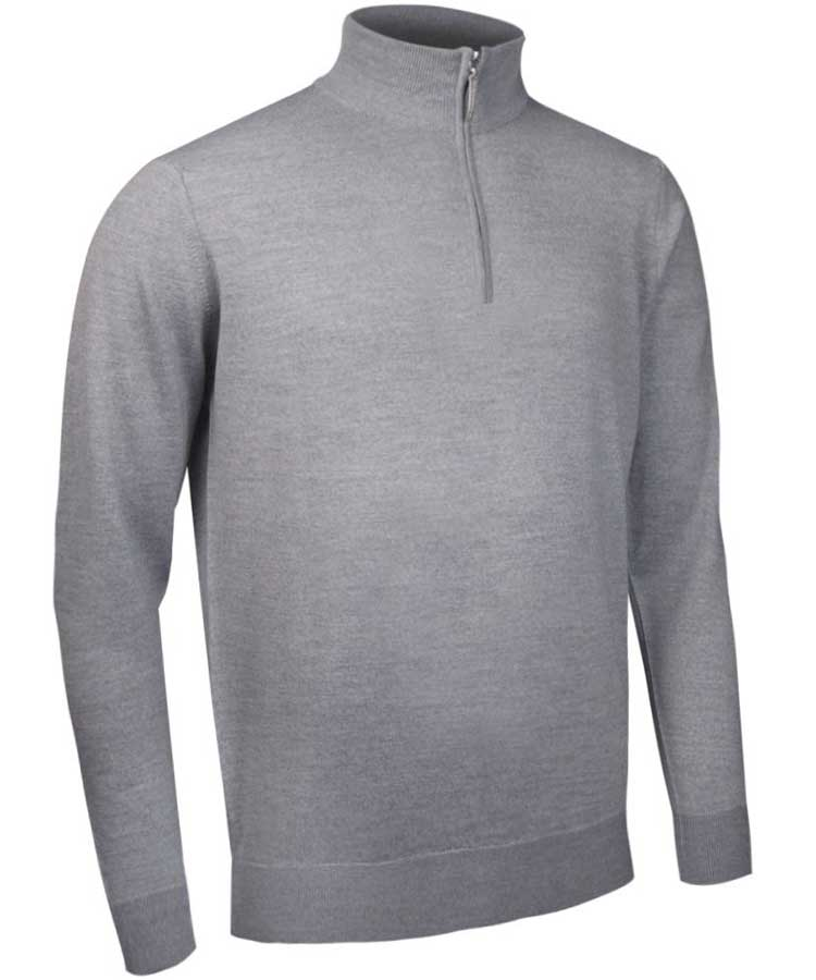 Glenmuir Men's Jasper Zip Neck Fine Merino Sweater - Light Grey