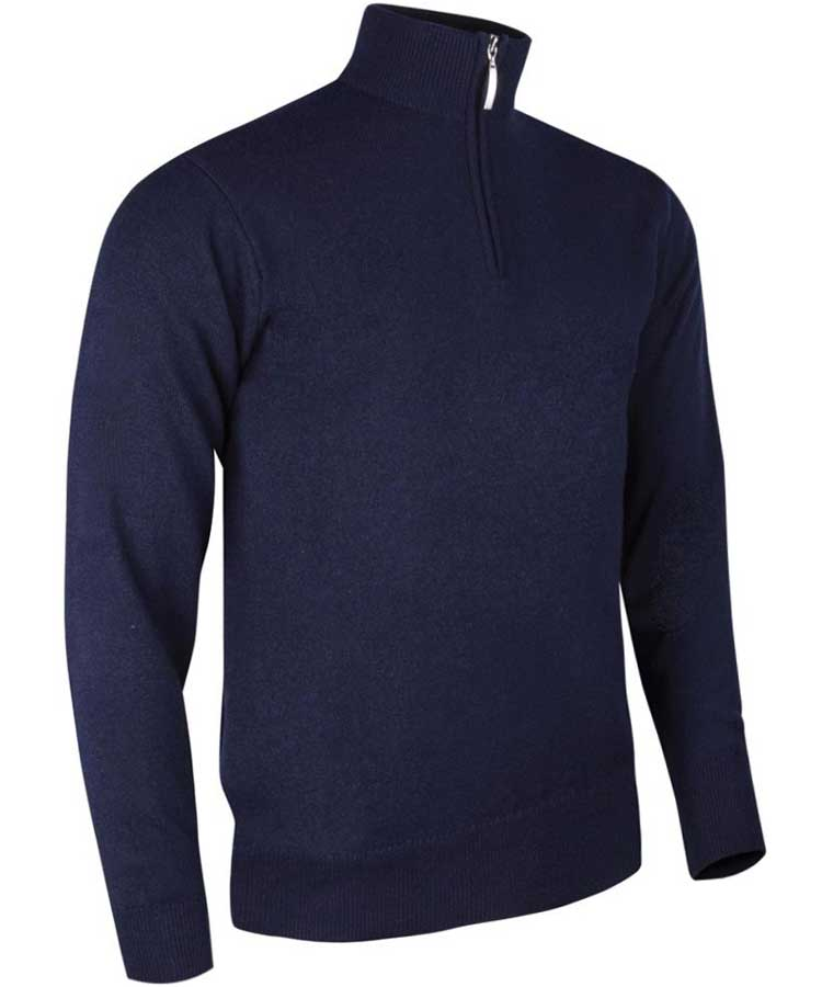 Glenmuir Men's Jasper Zip Neck Fine Merino Sweater - Dark Navy