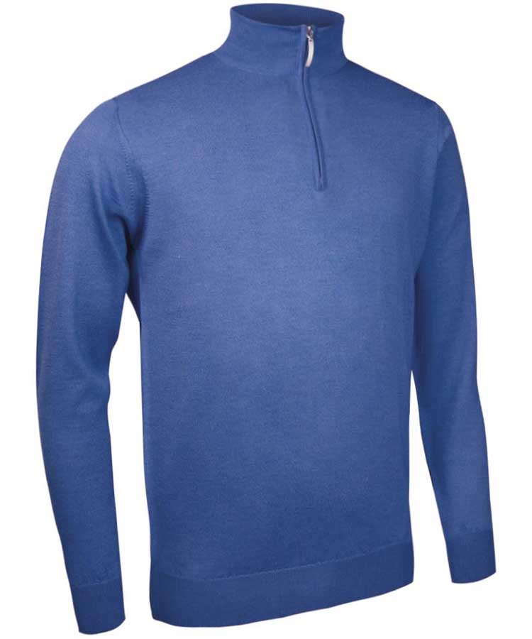 Glenmuir Men's Jasper Zip Neck Fine Merino Sweater - Tahiti Blue