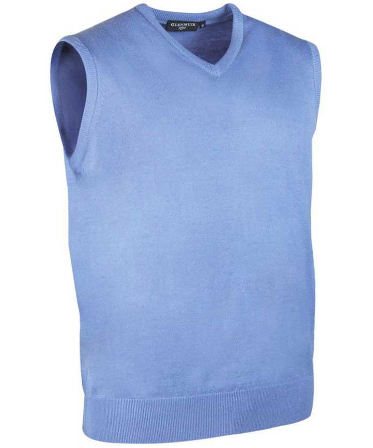 Glenmuir Men's Rankin V Neck Fine Merino Slipover Light Blue