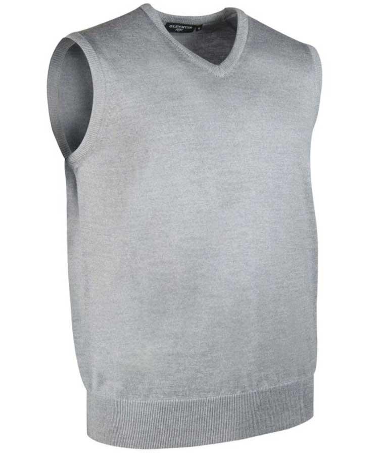 Glenmuir Men's Rankin V Neck Fine Merino Slipover Light Grey